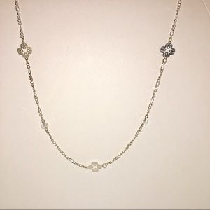 Delicate Medallion Rhinestone Necklace signed LC